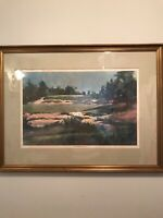 Frank Webb Abstract Painting Pine Valley Golf Club Number Two Signed And Matted