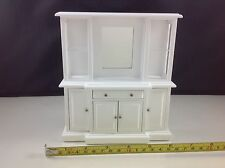 Dollhouse Miniature Furniture White Wood Living Room Mirror Drawer Cabinet 1:12