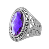 Amethyst Purple Large Oval Vintage Style Ring small to xl sizes O Q R T FR264