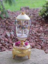 REAL Decorated Goose Egg Baby Shower Gift Music Box Horse Carousel