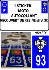 1 sticker plaque immatriculation MOTO TUNING 3D RESINE  FPF PORTUGAL DEPA 93