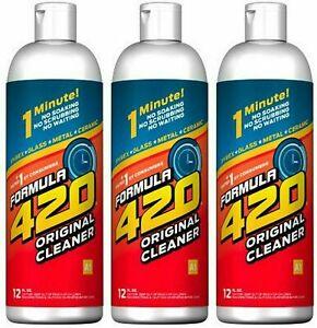 Formula 420 Glass Metal Ceramic Tobacco Pipe Cleaner 12 Oz. 3 Pack USA Seller