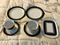 VINTAGE BAVARIA WINTERLING KIRCHENLAMITZ ECHT KOBALT TEA CUPS SAUCER PLATES LOT