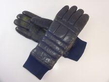 Vintage Retro Ladies Medium Grandoe Navy Blue Leather Fleece Lined Ski Gloves
