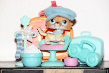 Littlest Pet Shop SAGE 58 COLLIE DOG TAN BROWN BLUE EYE HAIR BOW ACCESSORY LOT