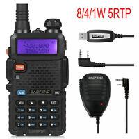 Baofeng UV-5RTP Portable Two-Way Radio +Speaker &Cable Dual Band V/UHF FM Ham 8W
