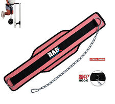 RAD Neoprene Dipping Belt/ Weight Lifting/Gym Dip Belt With Metal Chain Pink New