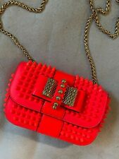 Christian Louboutin Sweety Charity neon mini spiked patent-leather shoulder bag