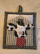 """Vintage Country Black & White Cloth Hot Pot Holder/ Cow w/ Red Tie/ 8 2/8"""" x 7"""""""