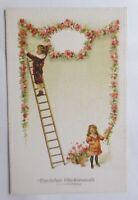 Geburtstag, Kinder, Mode, Leiter, Blumen, Girlanden, 1905,  Prägekarte ♥ (69824)