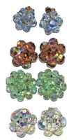 Lot Of 4 Crystal Bead Silver & Gold Tone Cluster Floral Clip On Earrings Vintage
