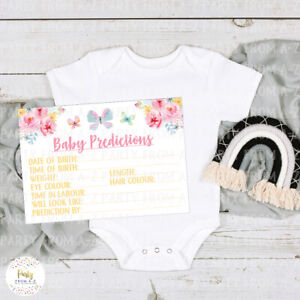 Baby Shower Baby Girl Prediction Cards Floral Butterflies