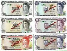 BERMUDA, 1978-84 Specimen Set. $1,$5,$10, $20, $50, $100.  Pick 28s - 33s.