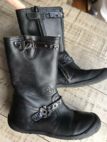 Aster Girls Black Leather Boots 27 Us 10  Toddlers France
