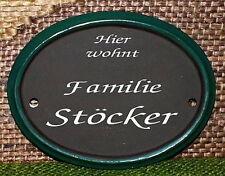 HDA-0058 -  Keramik-Türschild - Oval - Rand grün - Handarbeit - Unikat