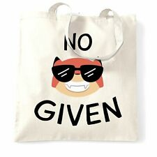 Novelty Animal Pun Tote Bag No Fox Given Joke Rude Adult Silly Swearing