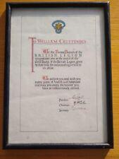 More details for royal british legion gold badge award certificate - borstal, 1954 - 9 signatures