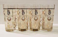 Set of 8 Vtg MCM Culver Fairway Golf 1960s Highball Drinking Glasses 24 KT Gold