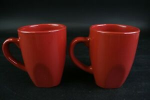 Gibson Everyday China Red Coffee Mug Kitchen Coffee Cup Drinkware Lot of 2