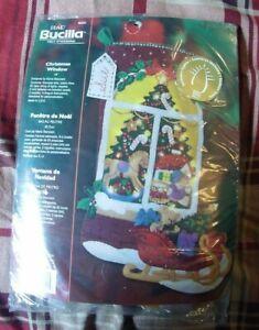 NEW Bucilla Felt Christmas Stocking Kit Christmas Window with Lights 85321 NOS