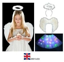 WHITE LIGHT UP ANGEL COSTUME Feather Girls Christmas Fancy Dress Outfit Party UK