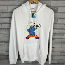 The Smurf's White Hoodie Sweatshirt Size Small Grouchy Smurf Embroidered