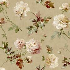 Wallpaper Designer Lavender Red Pink Green Brown Peony Floral Toss on Tan Faux