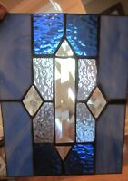 VINTAGE - Stained Glass Wrought Iron Panel Blue