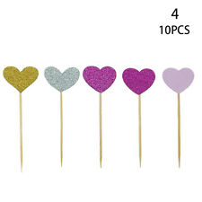 10X/Set Birthday Cupcake Topper Love Heart Party Decor Baby Shower Wedding Cakes