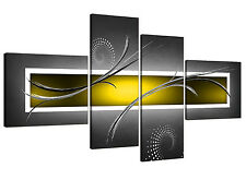 Abstract Canvas Pictures in Yellow and Grey for your Living Room - 4 Part