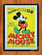 TIN-UPS Tin Sign Disney's Technicolor Mickey Mouse Cartoon Attraction Art Poster