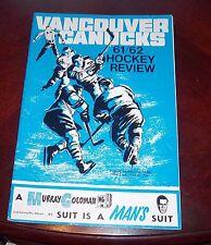 Vancouver Canucks WHL game Program 1961-62 vs Edmonton Flyers