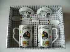 Set of 2 Porcelain Angry Birds Coffee Mugs Tea Cups W/Cover & Spoon Gift Set New