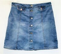 CROSSROADS Brand Blue Denim Button Front A-Line Skirt Size 14 BNWT #SA116