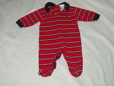 RALPH LAUREN boy's striped one piece SLEEPER romper w/ feet Size 3 - 6 months