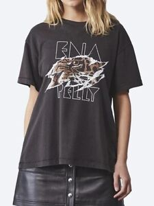 Ena*Pelly**Ladies Tigers Eye T-Shirt S/Sleeve Relaxed Fit Black Tee Shirt Top 12