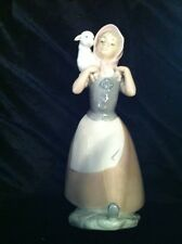 Nao By Lladro Figurine Good Shepherdess Girl With Lamb Over Shoulder #238 w/box
