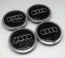 4x 69mm Audi Wheel Center Cap Emblem BLACK Cover Hub A3 A4 A6 A8 TT 4B0 601 170A
