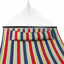 Quilted Fabric Double Size Spreader Bar Hd Outdoor Camping Hammock with Pillow