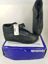 Reebok Classic Freestyle Black Leather Strap High Top Retro Shoe Womens Sz 9 New