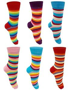 Ladies 6 Pairs Rainbow Stripe Cotton Socks Casual Ankle Socks UK Size 4-6