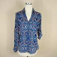 Express The Portofino Shirt Floral Size XS Long Tab Sleeve Blouse Top