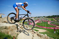 OLD LARGE CYCLING PHOTO, Julie Bresset 2012 Mountain Bike Olympic Gold 8