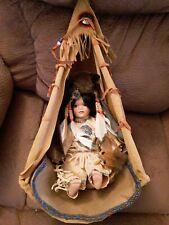 Native American Indian Girl Doll With Buffalo Headdress &Teepee 19 in tall