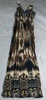 ACE Fashion Women's Sleeveless Sheered Waist Maxi Dress SV3 Brown Medium NWT