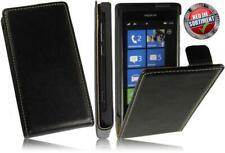Flip case pu bolsa de piel premium funda fliphülle negro Nokia Lumia 800