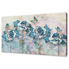 BLUE WHITE ABSTRACT ROSES BUTTERLY FLORAL BOX CANVAS PRINT WALL ART PICTURE