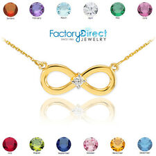 14K Gold Infinity CZ Birthstone Necklace