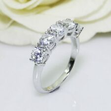 Five Stone Engagement Wedding Ring Band 2.80 Ct Round Cut Diamond 14K White Gold