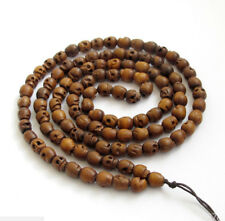 Rare tibet Buddhist 108 Natural Wood Skull Prayer Beads Mala Necklace Bracelet
